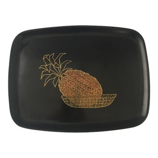 Couroc Inlaid Brass & Wood Pineapple Tray