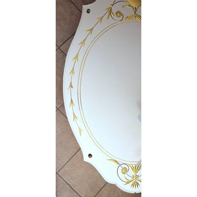 Art Deco 1930s Art Deco Etched Gold Wall Mirror For Sale - Image 3 of 11