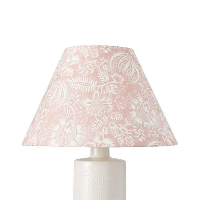 This lampshade features our Pomegranate Print in Petal. This lively pomegranate pattern was inspired by an antique resist...