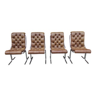 1970s Modern Daystrom Tubular Chrome Cantilever Chairs - Set of 4 For Sale