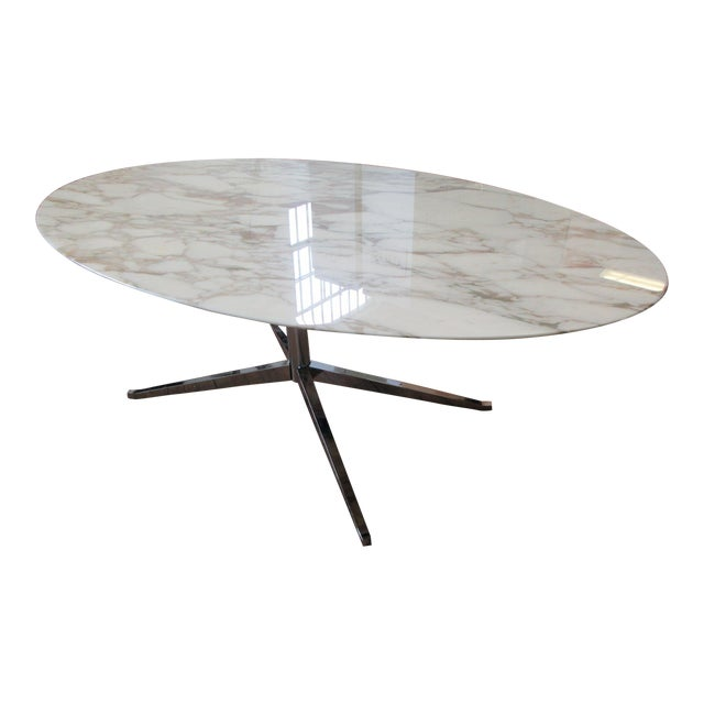 """Florence Knoll 78"""" Calacatta Marble Top Oval Table Desk For Sale"""