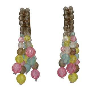 Coppola E Toppo Pastel Crystal Tassel Long Earrings For Sale