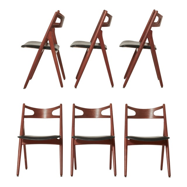 Set of Six Hans Wegner Ch-29 Sawbuck Dining Chairs, Carl Hansen, Denmark For Sale