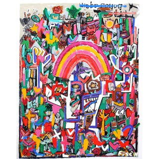 "Large Colorful Mixed Media Painting ""The Whirling Rainbow Man"" by Jonas Fisch For Sale"