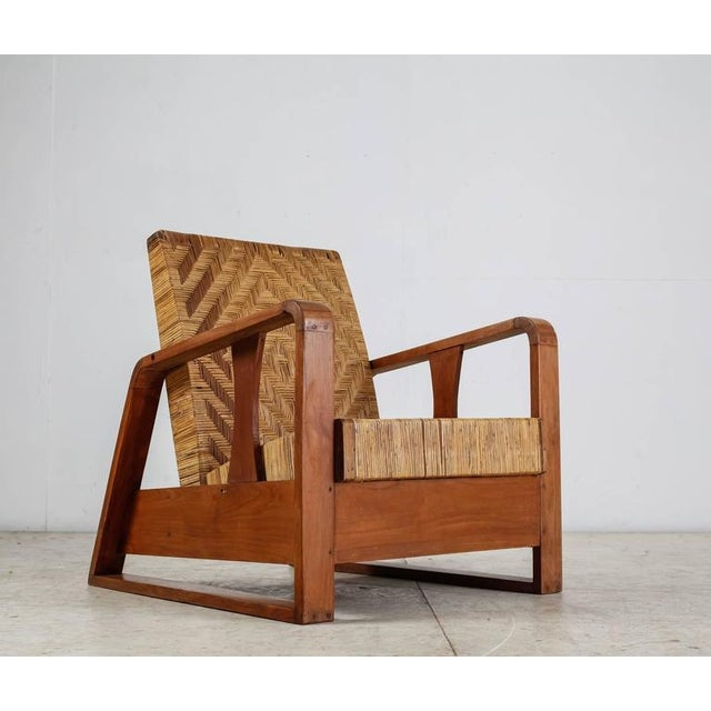 French Modernist Teak and Cane Lounge Chair, 1930s - Image 2 of 10