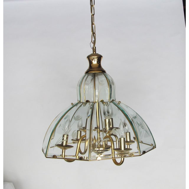 1970s Brass and Etched Glass Chandelier - Image 2 of 5