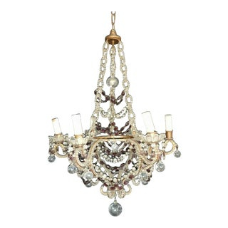 19th Century French Napoleon III Maison Bagues Beaded Crystal & Amethyst Chandelier For Sale
