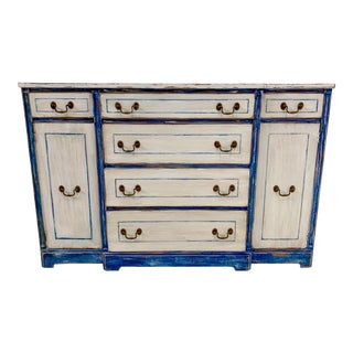 1940s Blue & White Swedish Style Painted Sideboard For Sale