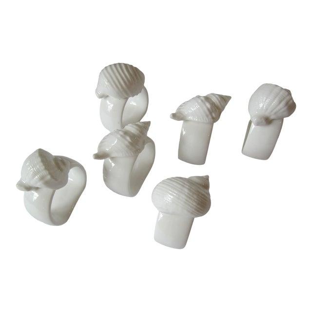 White Porcelain Shell Napkin Rings - Set of 6 For Sale