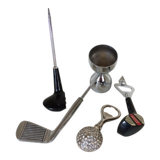Vintage Golfers Bar Tools Set - 2 Iron Jigger Bar Tender Set With 2 Bottle/Can Opener-1 Ice Pick-2 and 1 Ounce Jigger - Group of 4 For Sale