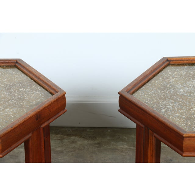 Brown Saltman Hexagonal End Tables - A Pair - Image 7 of 10
