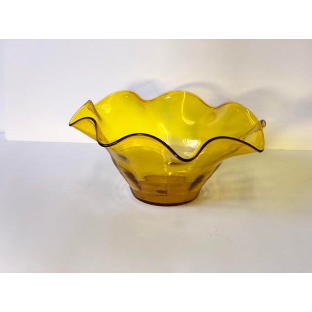 1960s Midcentury Amber Art Glass Handkerchief Bowl For Sale - Image 5 of 11