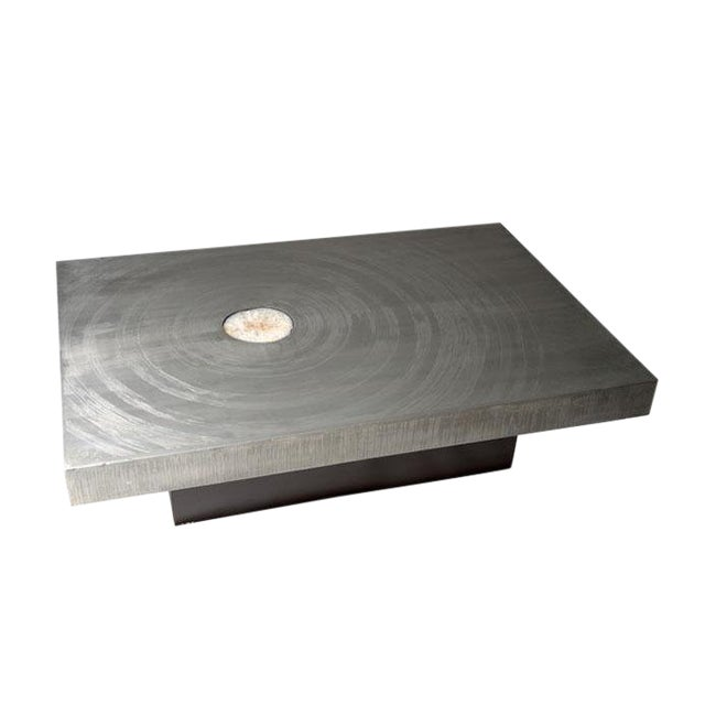 1970s Belgian Etched Aluminum and Agate Coffee Table, by Marc d'Haenens For Sale