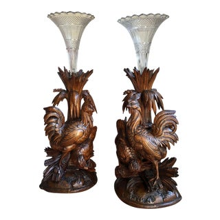 Antique Black Forest Carved Wood Bird Chicken Vases - a Pair For Sale