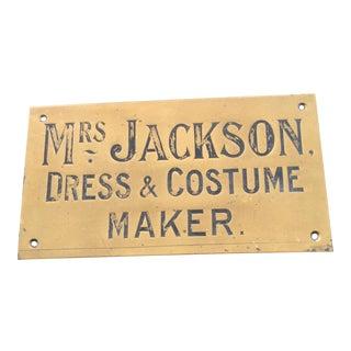 Engraved Brass Trade Sign for Dress Maker