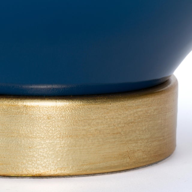Ceramic Sa Cosima Double Gourd Table Lamp, Prussian Blue/Blue Stream Shade - a Pair For Sale - Image 7 of 8