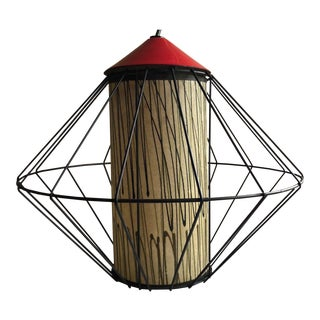 Vintage 1950s Atomic Era Metal Cage Fiberglass Shade Pendant Light Fixture Lamp For Sale
