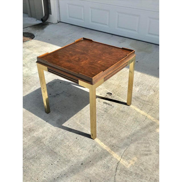 Mid-Century Modern Vintage Drexel Heritage Connoisseur Burl Wood and Brass Leg Side Table For Sale - Image 3 of 12
