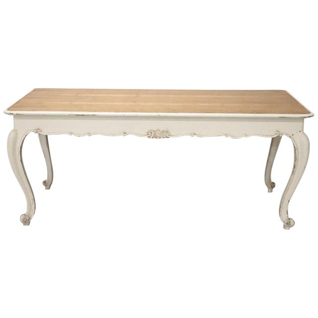 20th Century French Country Provencal Louis XV Style Painted Dining Room Table For Sale