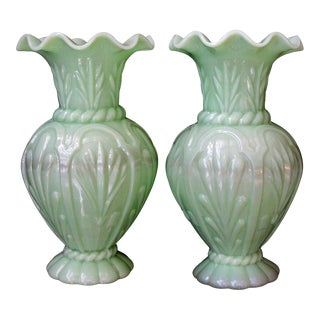 Early 20th Century French Pale-Green Opaline Baluster-Form Vases - a Pair For Sale