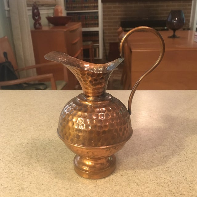 Boho Chic Hammered Copper Small Decorative Pitcher For Sale - Image 3 of 8