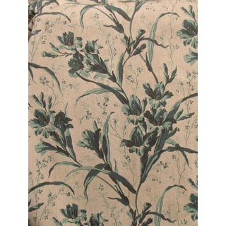 Antique French Fabric Green Floral C1860 Gladiola For Sale