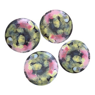 Anthropologie Green Pink and Black Accent Plates - Set of Four For Sale