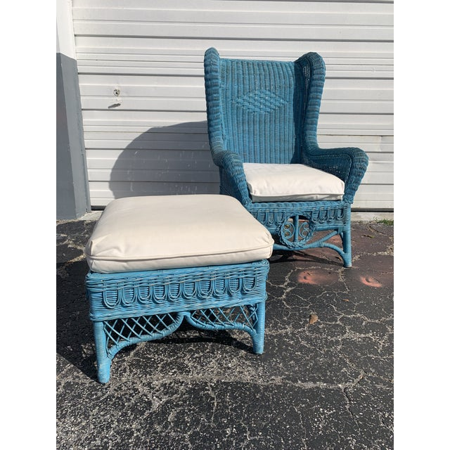 Vintage Polo Ralph Lauren Wicker Chair and Ottoman For Sale - Image 9 of 13