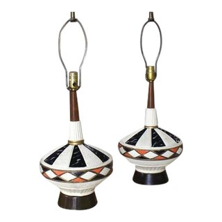 Mid-Century Modern Walnut and Art Pottery Table Lamps - a Pair For Sale