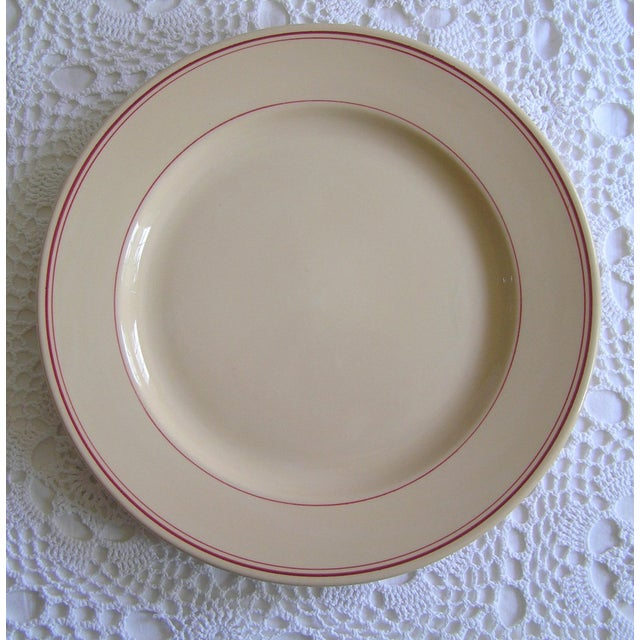 American Homer Laughlin Red & Beige Extra Large China Platter For Sale - Image 3 of 3
