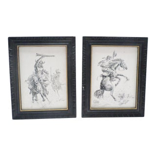 Mid-Century Western Cowboy & American Indian Ink on Canvas - Framed Pair For Sale