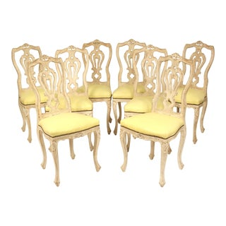 1950s Vintage Continental Louis XV Style Dining Room Chairs- Set of 8 For Sale