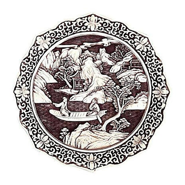 Antique Chinese Hand-Carved White Cinnabar Plate - Image 1 of 4