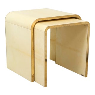 Parchment Nesting Tables With Bronze Banding - Set of 2 For Sale
