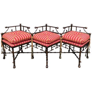 Faux Bamboo Bronzed Iron Bench