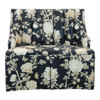 2010's Custom Black Floral Brunswig & Fil Chintz Banquette For Sale