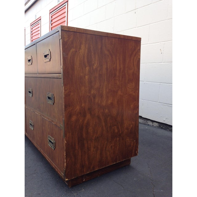 Mid 20th Century 20th Century Campaign Dixie 7-Drawer Lowboy Dresser For Sale - Image 5 of 9