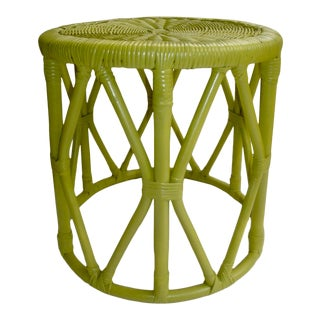 Boho Rattan and Wicker Round Side Table Stool Green For Sale