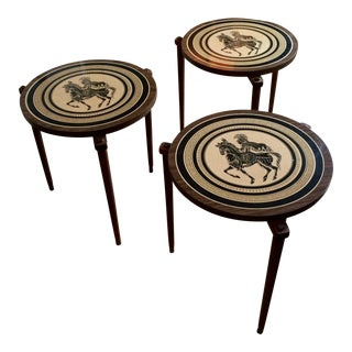 Vintage Greek Mid-Century Round Stacking Side Tables - Set of 3