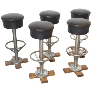 Set of Five Belgium Revolving Barstools, 1960s For Sale