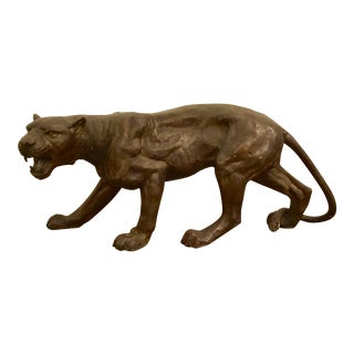 Vintage Large Bronze Cougar For Sale