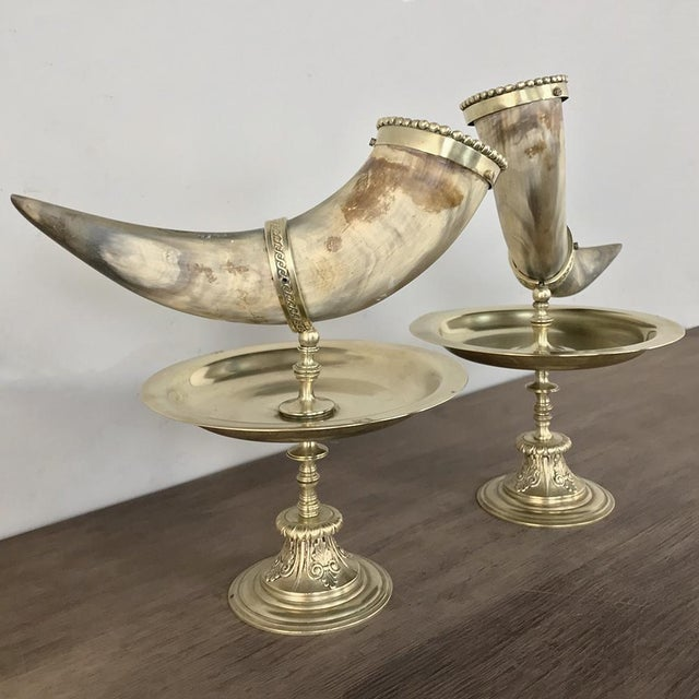 Pair 19th Century Bronze-Mounted Horn Bookends are ideal for decorations, desktops, or as bookends on any surface. Cattle...