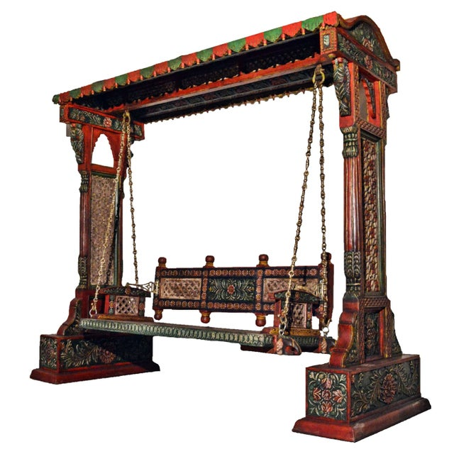 Asian Jaisalmer Jharokha Carved Royal Swing Set For Sale - Image 3 of 5