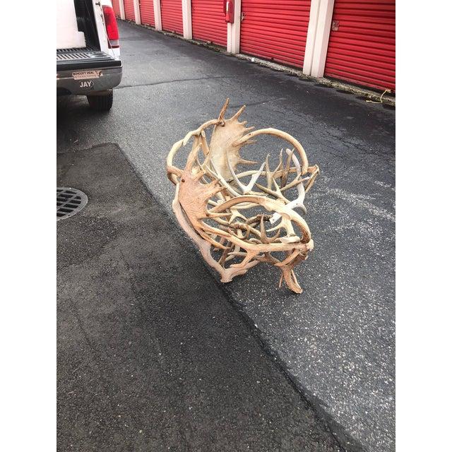 Lodge Vintage Elk Antler Chair For Sale - Image 3 of 6