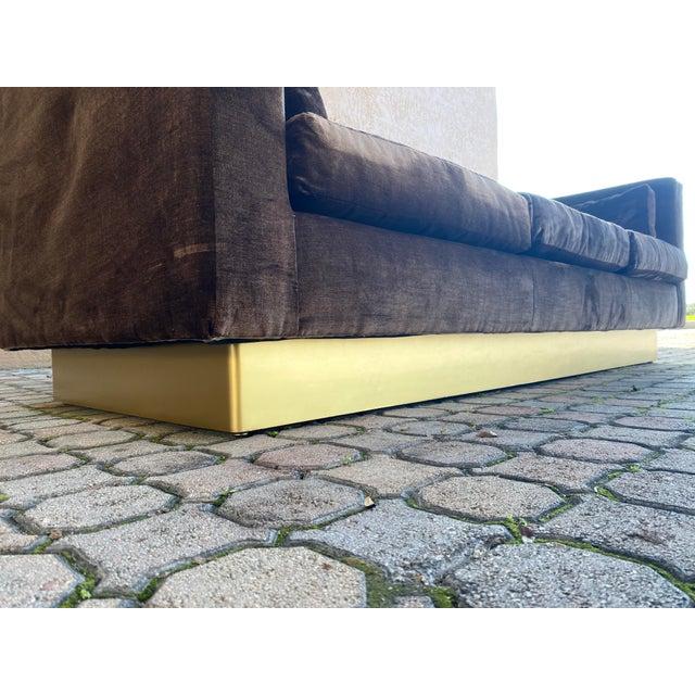 Milo Baughman Newly Reupholstered Velvet Tuxedo Sofa For Sale - Image 4 of 7