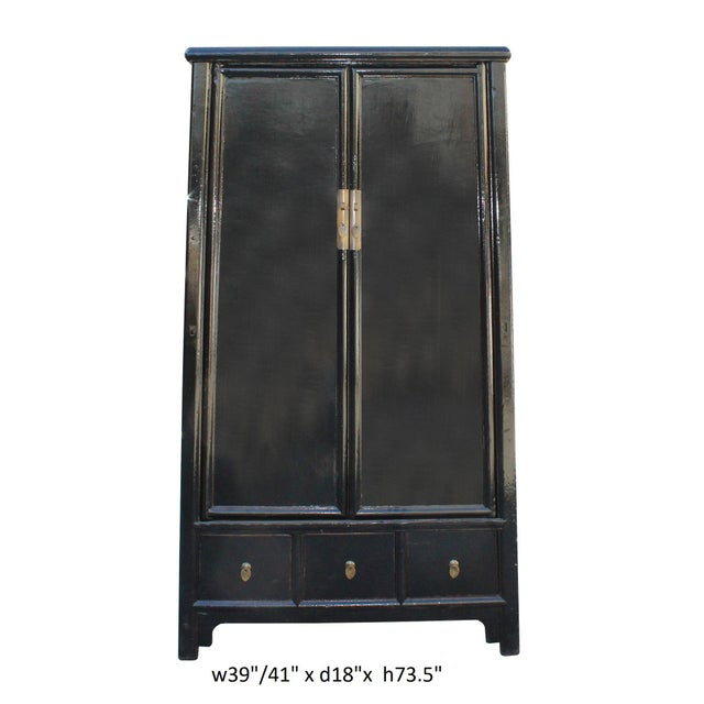 Chinese Distressed Black Lacquer Ladder Shape Tall Armorie Cabinet For Sale - Image 5 of 5