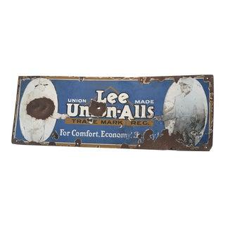 Lee Union-Alls Metal Denim Advertising Sign