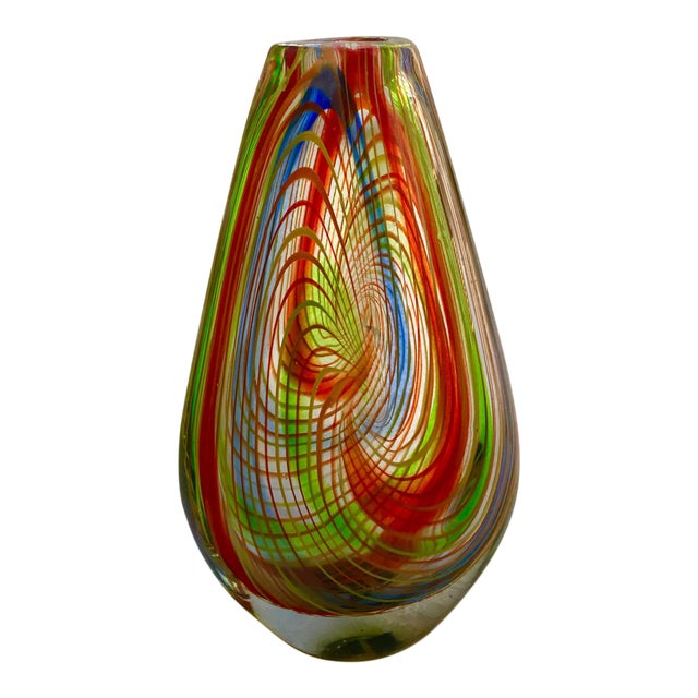 Large Mid-Century Murano Multi-Colored Swirl Teardrop Vase Attributed to Dino Martens For Sale