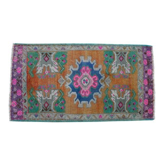 """Front of Bath Sink Rug Hand Made Kitchen Mat Faded Mini Rugs 1'10"""" X 3'4"""" For Sale"""