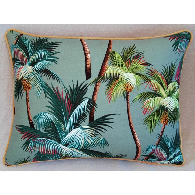 "Contemporary Oasis Palm Tree Barkcloth Feather/Down Pillows 24"" X 18"" - Pair For Sale - Image 3 of 11"